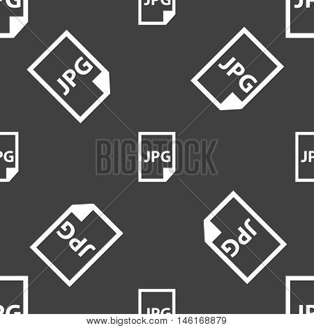 Jpg File Icon Sign. Seamless Pattern On A Gray Background. Vector