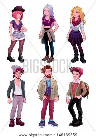 Group of young people, both males and females. Fashion cartoon vector isolated characters.