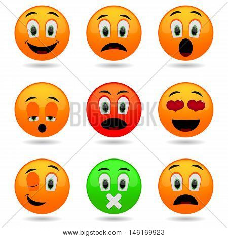 Set of Emoticons. Smile icons. Emotional funny faces in glossy 3D. Isolated on white background.