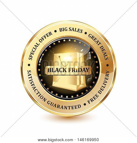 Black Friday, Special offer, Big sales, Free delivery - luxurious shiny icon / button for business advertising / retail compaines