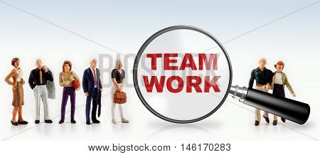 people with the word team work in a magnifying glass - team work  concept