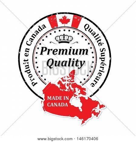 Made in Canada, Premium Quality  (Text in French: Qualite Superieure, Produit en Canada) grunge label containing the map and flag colors of Canada. Print colors used
