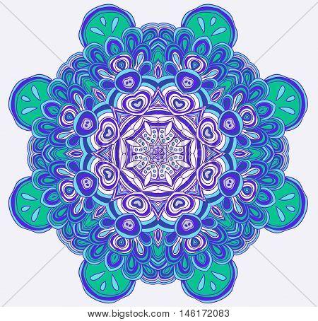Round symmetrical pattern in winter colors. Mandala. Kaleidoscopic design.