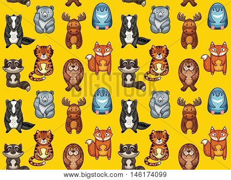 Seamless pattern with colorful cartoon animals. The raccoon, polar bear, moose, penguin, fox, tiger, walrus and badger. Ideal for cards, wallpapers and children room decoration
