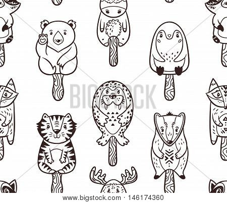 Popsicle Ice Lolly pattern with cartoon animals. Black and white background. Coloring book. Popsicle zentangle