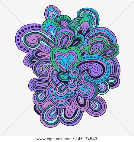 Vector hand drawn template. Lines pattern in blue and violet color.