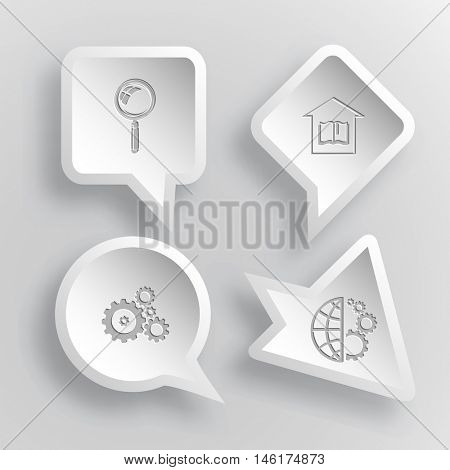 4 images: magnifying glass, library, gears, globe and gears. Science set. Paper stickers. Vector illustration icons.