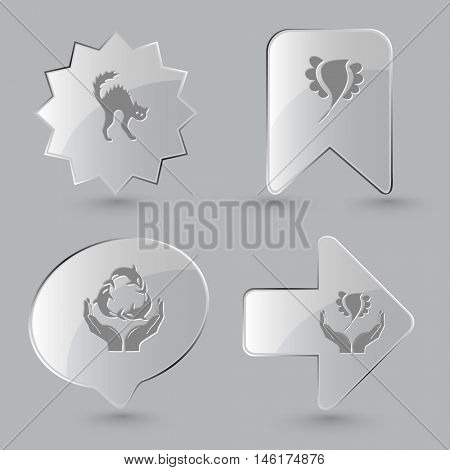 4 images: cat, bird, protection sea life, bird in hands. Nature set. Glass buttons on gray background. Vector icons.