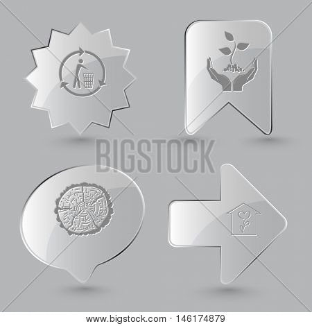 4 images: recycling bin, plant in hands, cut of tree, flower shop. Nature set. Glass buttons on gray background. Vector icons.