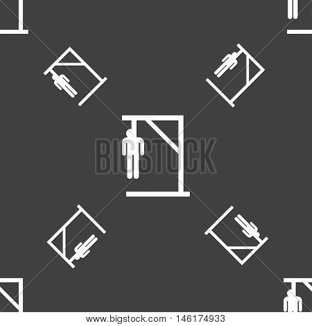 Suicide Concept Icon Sign. Seamless Pattern On A Gray Background. Vector