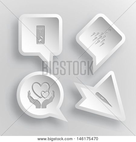 4 images: glass with tablets, spermatozoon, love in hands, thermometer. Medical set. Paper stickers. Vector illustration icons.