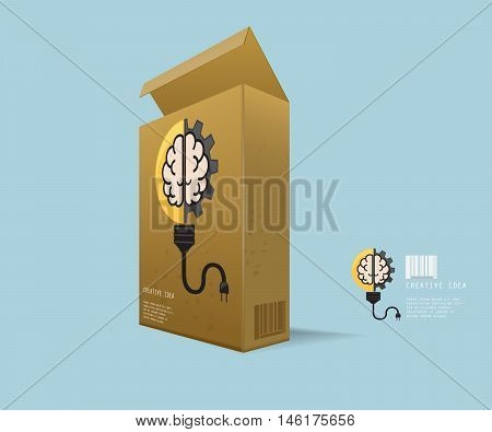 Creative Idea In Package Instant Idea in Recycle Box with Light Bulb with Cog Gear Wheel and Brain Logo Creative Idea Concept Vector Illustration