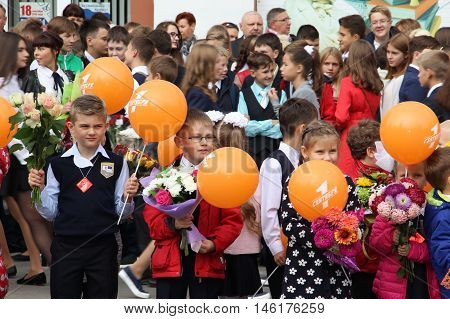 schoolboys schoolgirls children go to school - Russia Moscow the first High School the first class b - September 1 2016