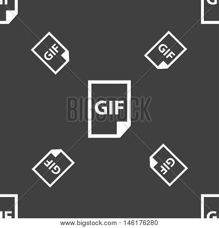 File Gif Icon Sign. Seamless Pattern On A Gray Background. Vector
