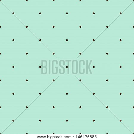 Mint Green Seamless Pattern with Brown Polka Dots. Vector illustration vintage and retro theme. Traditional texture.