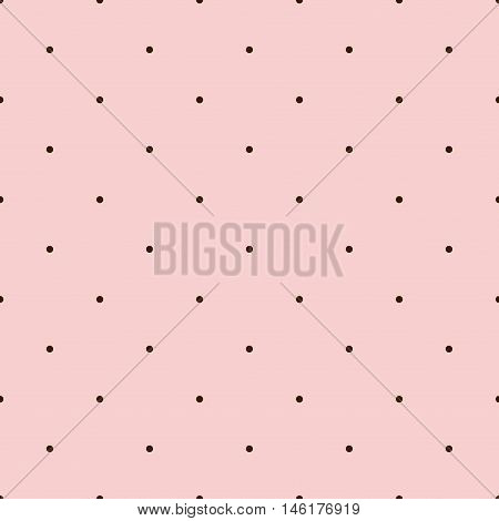 Pink Seamless Pattern with Brown Polka Dots. Vector illustration vintage and retro theme. Traditional texture.