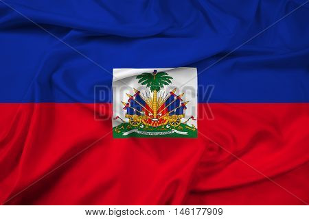 Waving Flag Of Haiti With Coat Of Arms