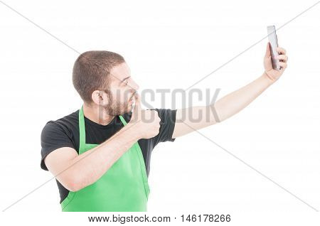Young Supermarket Seller Making Selfie With Thumb Up Gesture