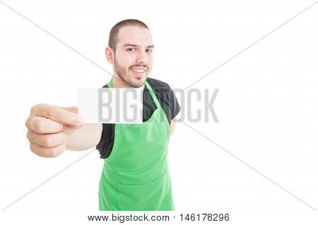 Selective Focus Of Supermarket Young Employee Showing Business Card