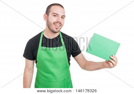 Market Employee Holding Green Cardboard And Smiling