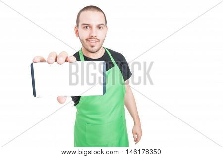 Selective Focus Of Supermarket Seller Showing Blank Screen Phone