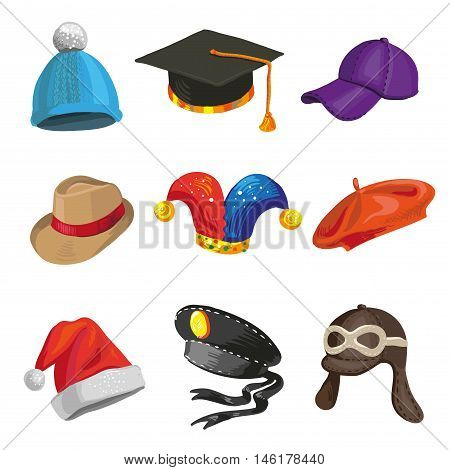 Set of cartoon police and joker hats. Collection with baseball, knitted and graduation caps. Vector illustration isolated on white