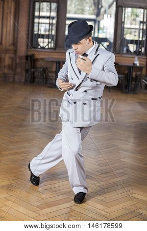 Confident Male Dancer Performing Tango