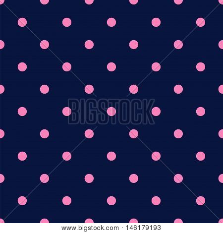 Vintage Navy Blue Seamless Pattern with Light Pink Polka Dots. Vector illustration vintage and retro style texture.