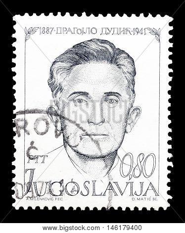 YUGOSLAVIA - CIRCA 1973 : Cancelled postage stamp printed by Yugoslavia, that shows Dragojlo Dudic.