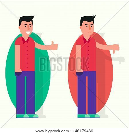 Young man with his thumb up and down. Like and dislike vector illustration. Approval or disapproval yes or no positive or negative feedback image