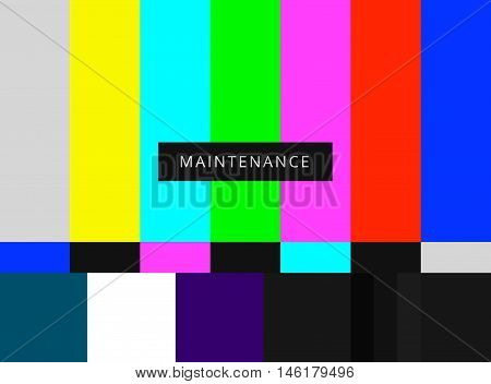 SMPTE color bars vector illustration. Analog and NTSC standard tv test screen. Television maintenance pattern components