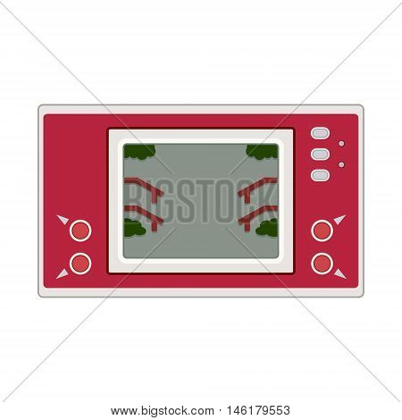 Vector Game And Watch Icon Illustration. Geek Gaming Retro Gadget From The Nineties. Old Game Entert