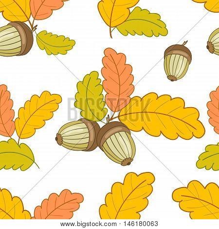 autumn seamless pattern with colorful oak leaves and acorns on a white background.Vector illustration.Design for web pages, cloth, textile, wrapping paper, scrapbooking, Wallpapers.