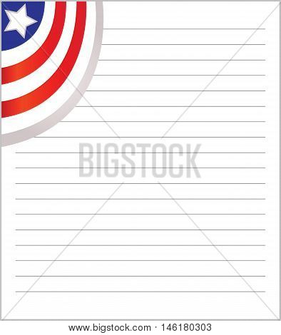 Exercise book with the American flag in the corner.