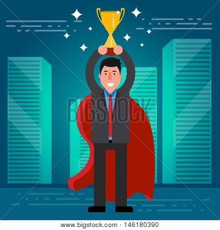 Successful Businessman Or Broker In Suit And Red Cape With Golden Cup On City Skyline Background. Ve