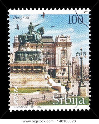 SERBIA - CIRCA 2007 : Cancelled postage stamp printed by Serbia, that shows Belgrade.