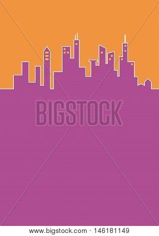 City flat background, cityline in purple and orange