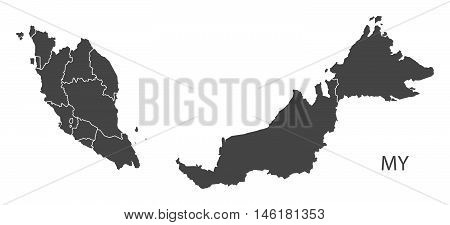 Malaysia grey map with regions isolated vector high res