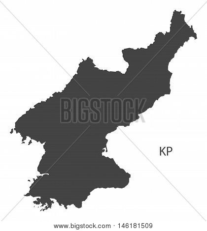 North Korea grey map isolated vector high res
