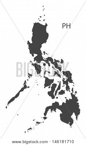 Philippines grey map isolated vector high res
