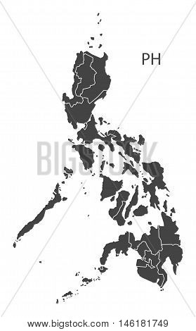 Philippines grey map with regions isolated vector high res