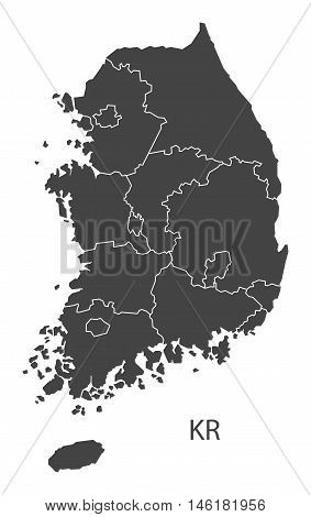 South Korea grey map with regions isolated vector high res