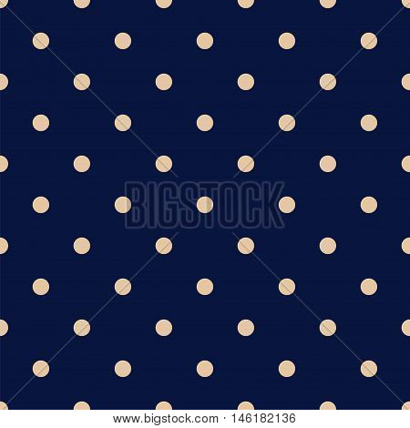 Vintage Navy Blue Seamless Pattern with Tan Polka Dots. Vector illustration vintage and retro style texture.