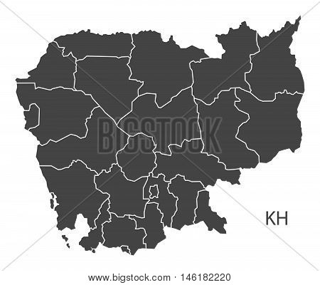 Cambodia grey map with regions isolated vector high res