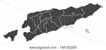 East Timor grey map with regions isolated vector high res