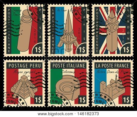 set of postal stamps with architectural landmarks from different countries