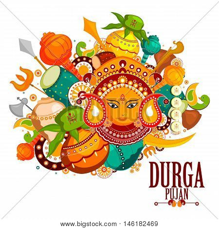 easy to edit vector illustration of Happy Durga Puja India festival holiday doodle background
