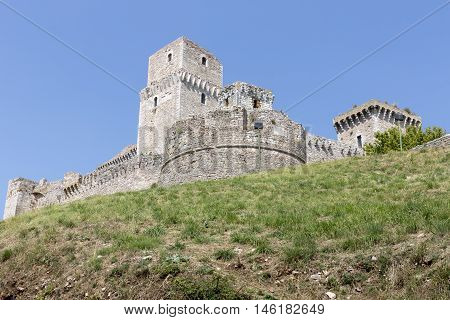 The castle Rocca Maggiore in the town of Assisi, Italy