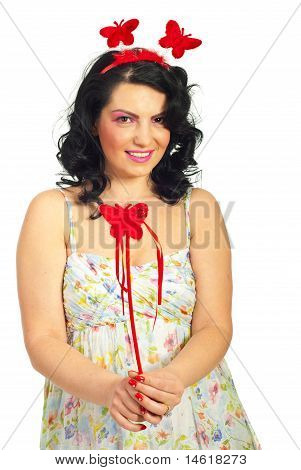Woman With Curly Hair Holding Wand