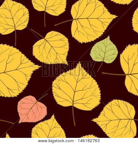 Beautiful autumn seamless pattern with colorful leaves on a brown background.Vector illustration.Design for web pages, cloth, textile, wrapping paper, scrapbooking, wallpapers.